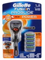 FUSION PROGLIDE POWER RAZOR AND 6 CARTRIDGES